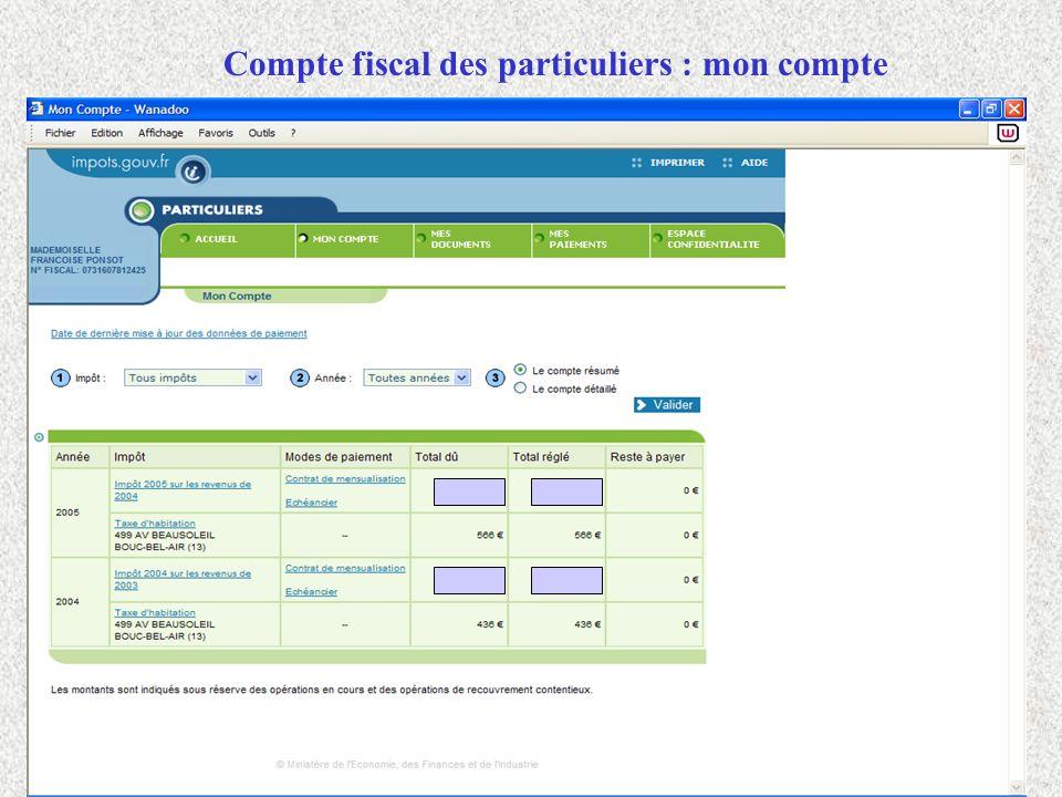 Compte fiscal des particuliers : mon compte
