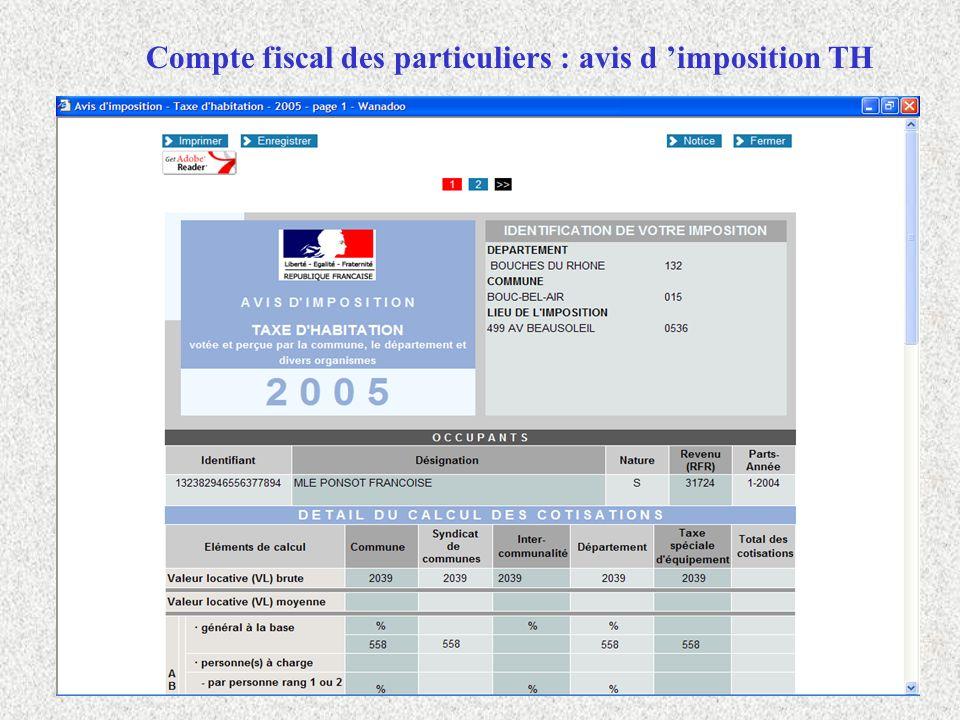 Compte fiscal des particuliers : avis d imposition TH