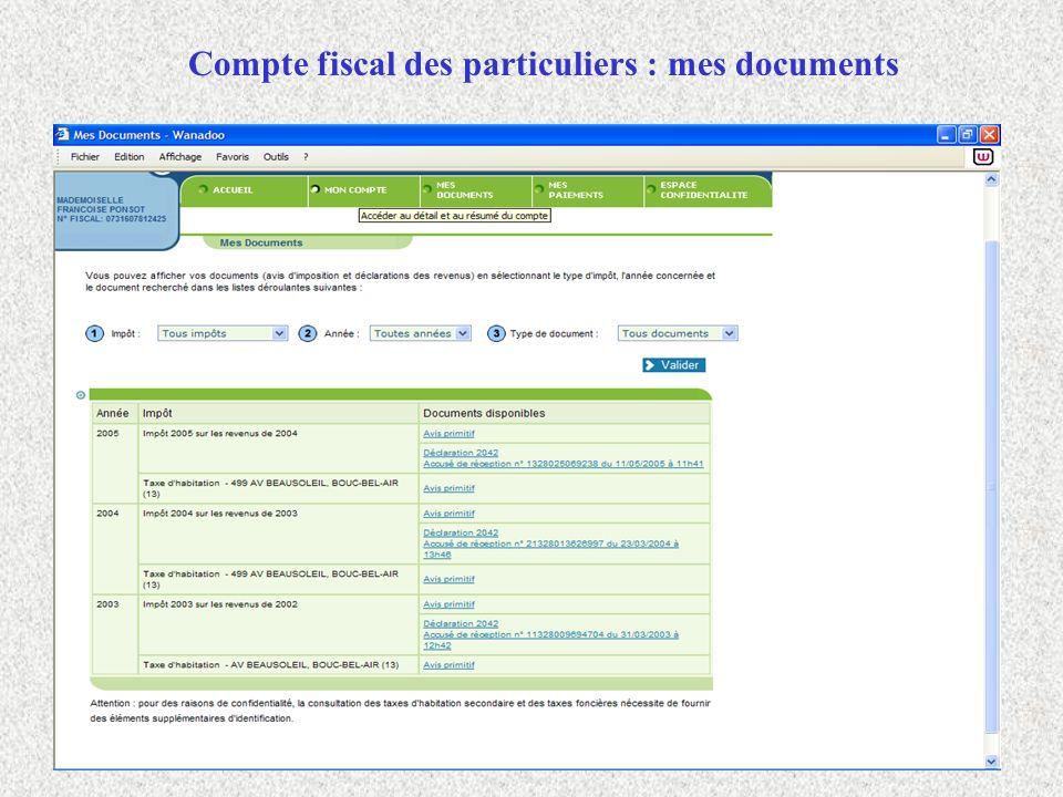 Compte fiscal des particuliers : mes documents