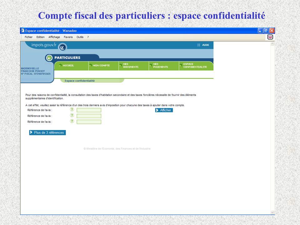 Compte fiscal des particuliers : espace confidentialité