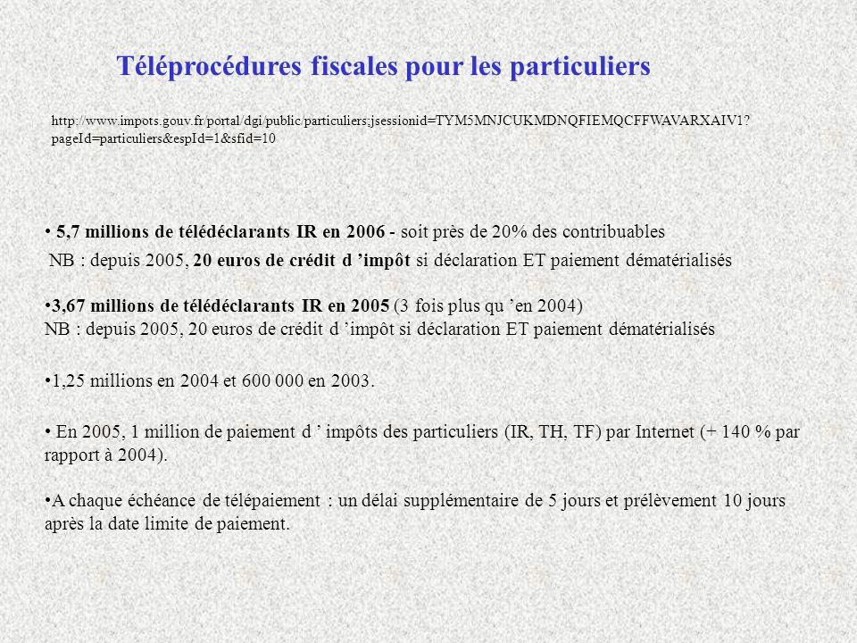 Téléprocédures fiscales pour les particuliers 5,7 millions de télédéclarants IR en 2006 - soit près de 20% des contribuables NB : depuis 2005, 20 euro