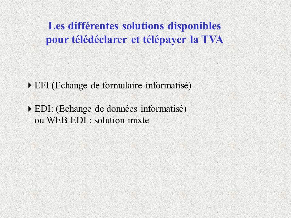 Les différentes solutions disponibles pour télédéclarer et télépayer la TVA EFI (Echange de formulaire informatisé) EDI: (Echange de données informati