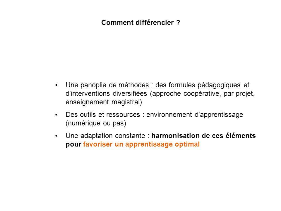 Comment différencier ? Une panoplie de méthodes : des formules pédagogiques et dinterventions diversifiées (approche coopérative, par projet, enseigne
