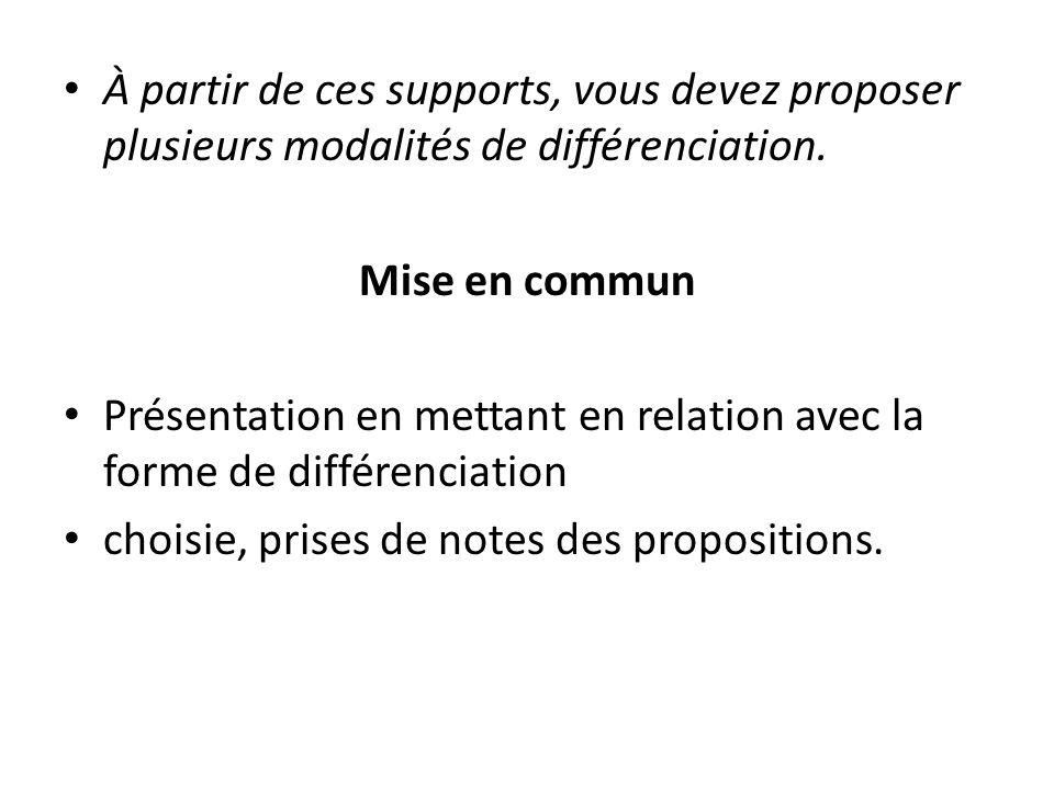 À partir de ces supports, vous devez proposer plusieurs modalités de différenciation. Mise en commun Présentation en mettant en relation avec la forme