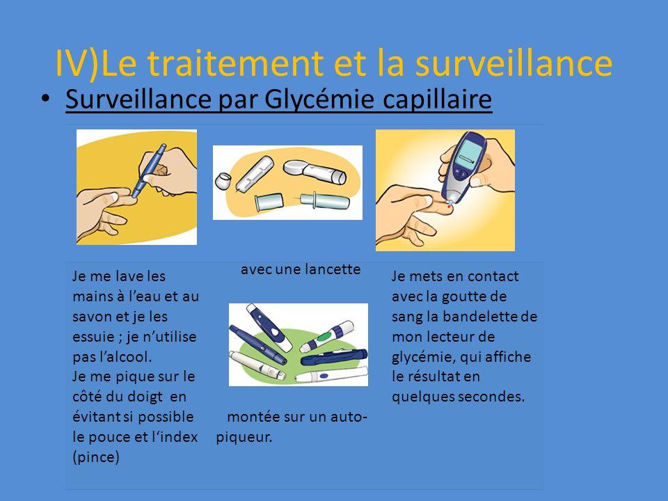 IV)Le traitement et la surveillance Surveillance par Glycémie capillaire Je me lave les mains à leau et au savon et je les essuie ; je nutilise pas la