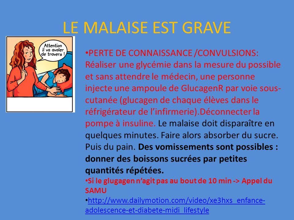LE MALAISE EST GRAVE PERTE DE CONNAISSANCE /CONVULSIONS: Réaliser une glycémie dans la mesure du possible et sans attendre le médecin, une personne in