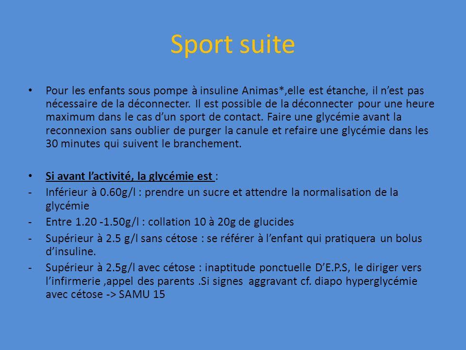 Sport suite Pour les enfants sous pompe à insuline Animas*,elle est étanche, il nest pas nécessaire de la déconnecter. Il est possible de la déconnect