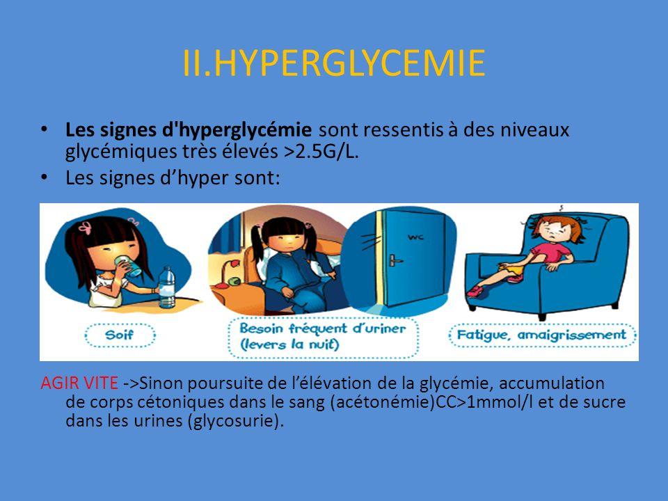 II.HYPERGLYCEMIE Les signes d'hyperglycémie sont ressentis à des niveaux glycémiques très élevés >2.5G/L. Les signes dhyper sont: AGIR VITE ->Sinon po