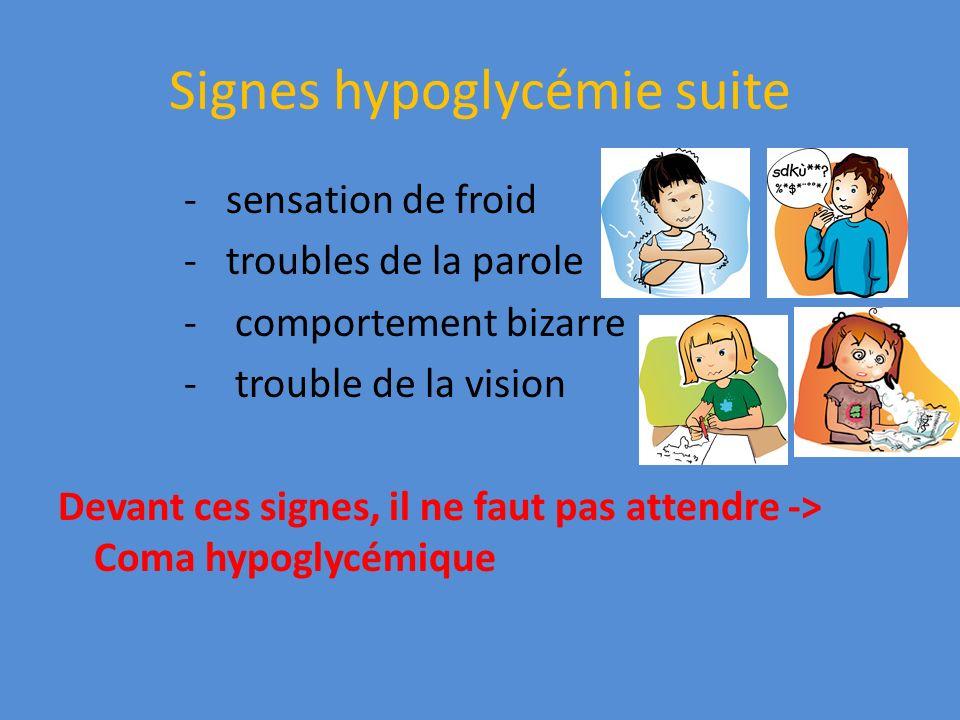 Signes hypoglycémie suite - sensation de froid - troubles de la parole - comportement bizarre - trouble de la vision Devant ces signes, il ne faut pas