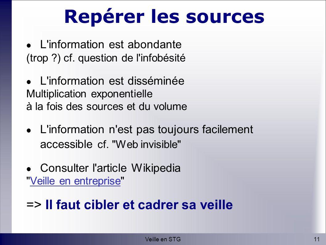 11Veille en STG Repérer les sources L information est abondante (trop ) cf.