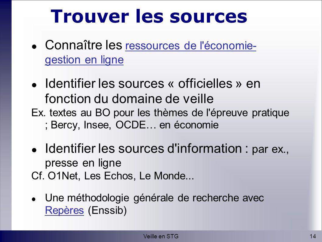 14Veille en STG Trouver les sources Connaître les ressources de l économie- gestion en ligneressources de l économie- gestion en ligne Identifier les sources « officielles » en fonction du domaine de veille Ex.