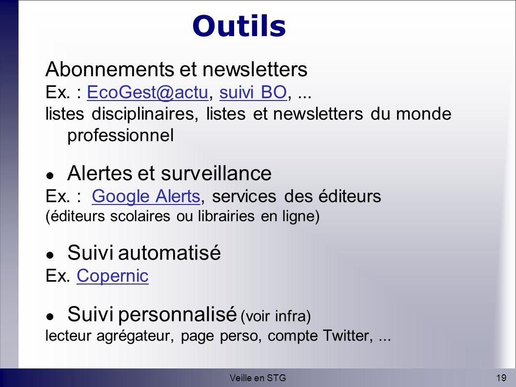 19Veille en STG Outils Abonnements et newsletters Ex.