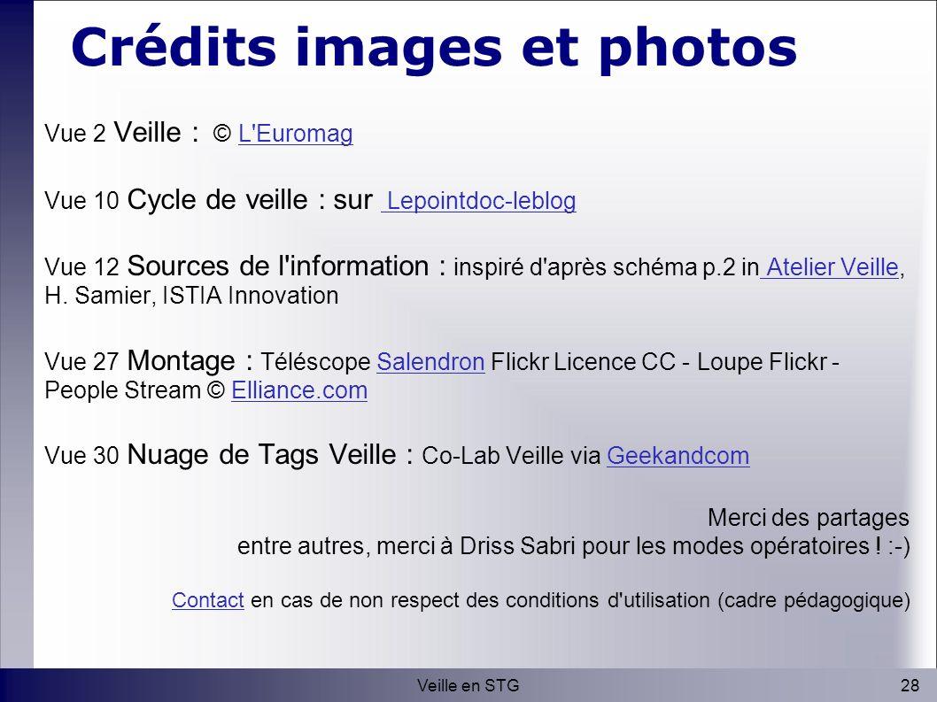 28Veille en STG Crédits images et photos Vue 2 Veille : © L Euromag L Euromag Vue 10 Cycle de veille : sur Lepointdoc-leblog Lepointdoc-leblog Vue 12 Sources de l information : inspiré d après schéma p.2 in Atelier Veille, H.