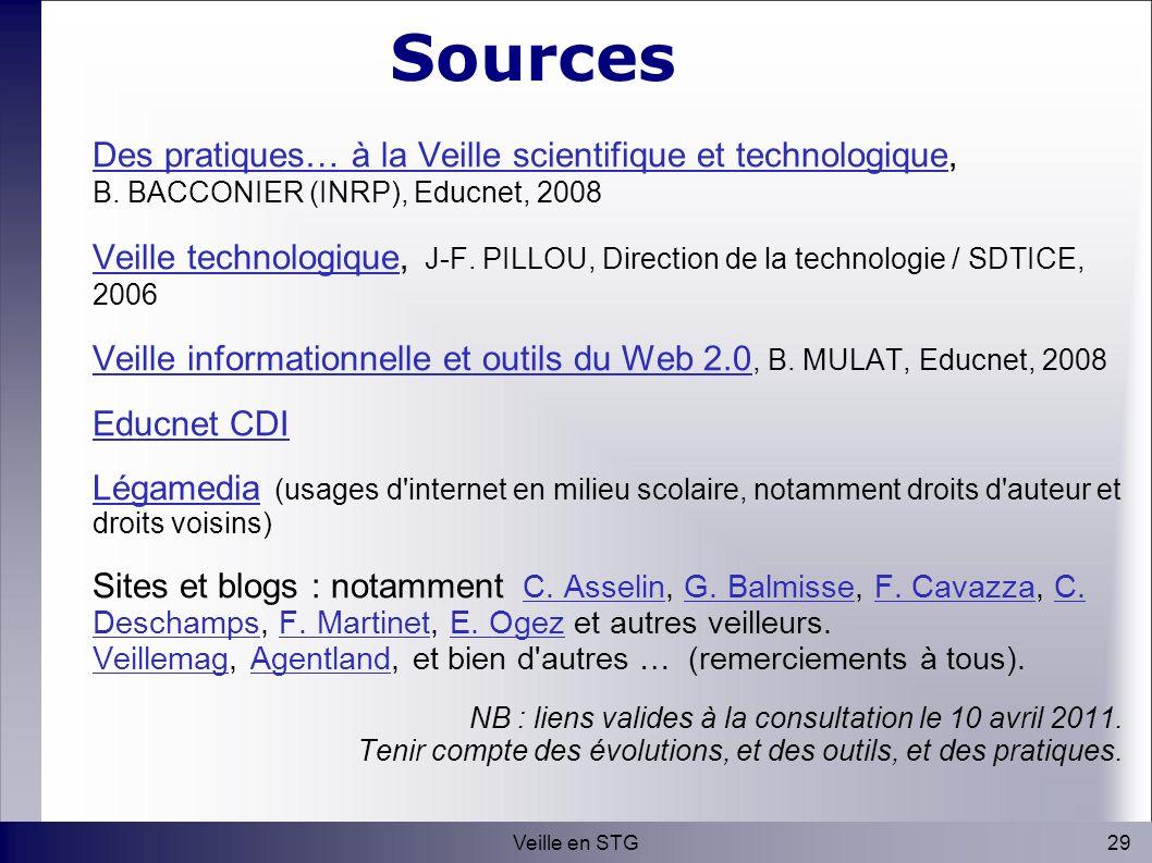 29Veille en STG Sources Des pratiques… à la Veille scientifique et technologiqueDes pratiques… à la Veille scientifique et technologique, B.