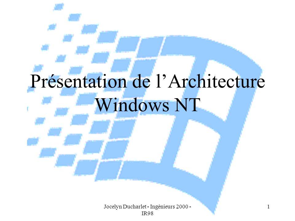 Jocelyn Ducharlet - Ingénieurs 2000 - IR98 1 Présentation de lArchitecture Windows NT