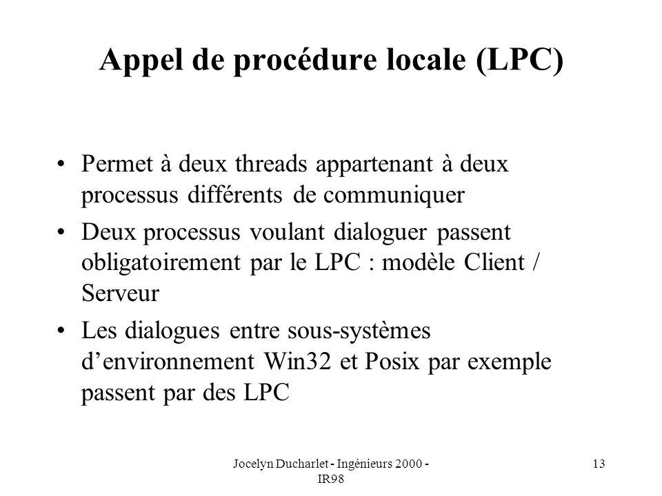Jocelyn Ducharlet - Ingénieurs 2000 - IR98 13 Appel de procédure locale (LPC) Permet à deux threads appartenant à deux processus différents de communiquer Deux processus voulant dialoguer passent obligatoirement par le LPC : modèle Client / Serveur Les dialogues entre sous-systèmes denvironnement Win32 et Posix par exemple passent par des LPC