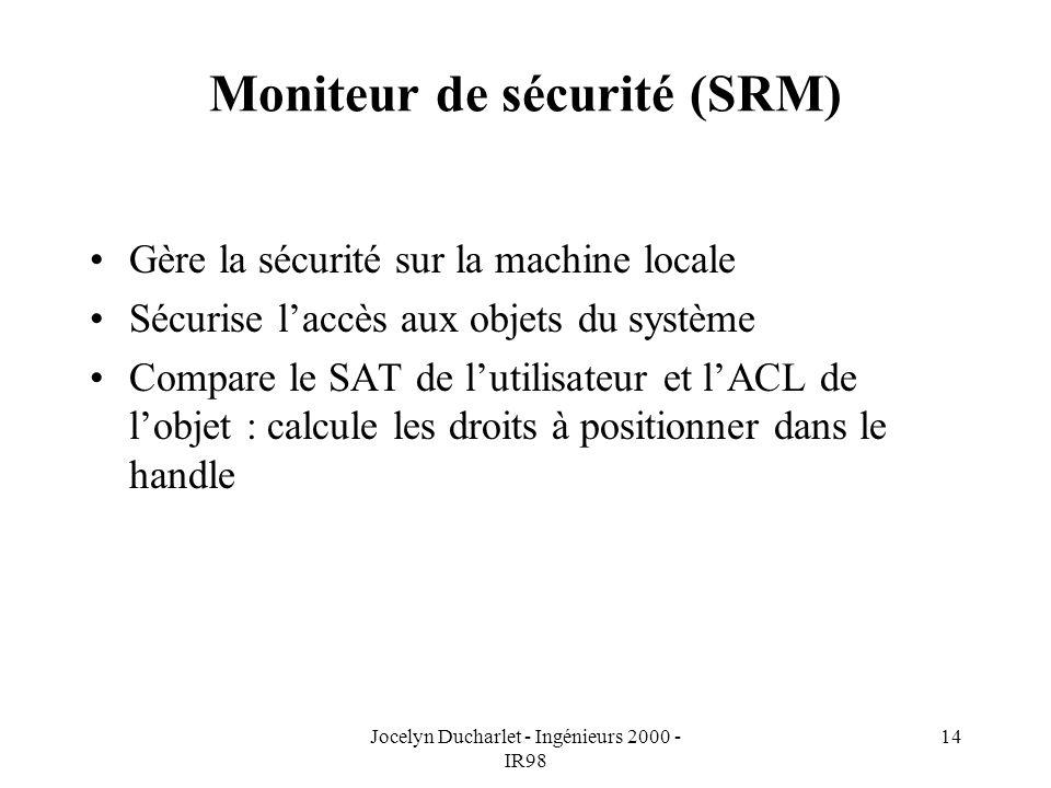 Jocelyn Ducharlet - Ingénieurs 2000 - IR98 14 Moniteur de sécurité (SRM) Gère la sécurité sur la machine locale Sécurise laccès aux objets du système Compare le SAT de lutilisateur et lACL de lobjet : calcule les droits à positionner dans le handle