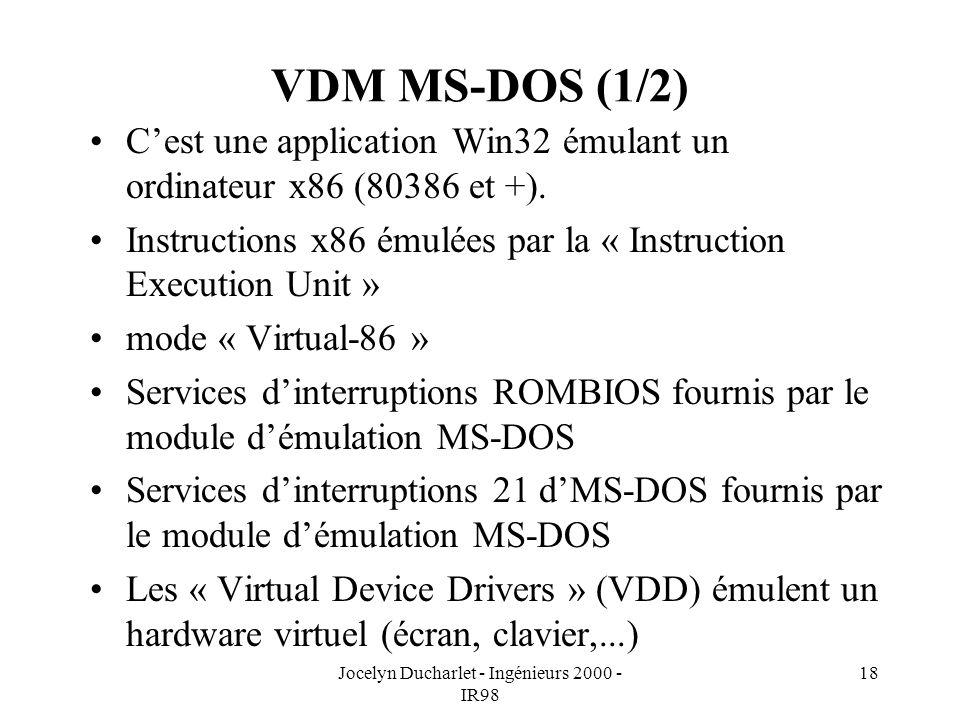 Jocelyn Ducharlet - Ingénieurs 2000 - IR98 18 VDM MS-DOS (1/2) Cest une application Win32 émulant un ordinateur x86 (80386 et +). Instructions x86 ému