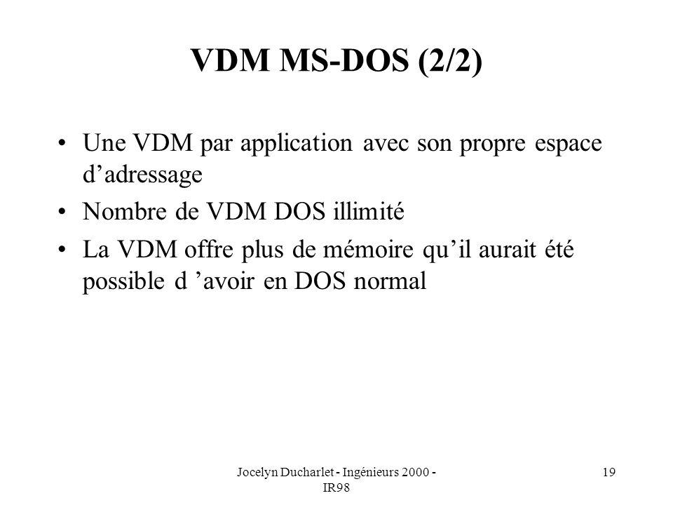 Jocelyn Ducharlet - Ingénieurs 2000 - IR98 19 VDM MS-DOS (2/2) Une VDM par application avec son propre espace dadressage Nombre de VDM DOS illimité La VDM offre plus de mémoire quil aurait été possible d avoir en DOS normal