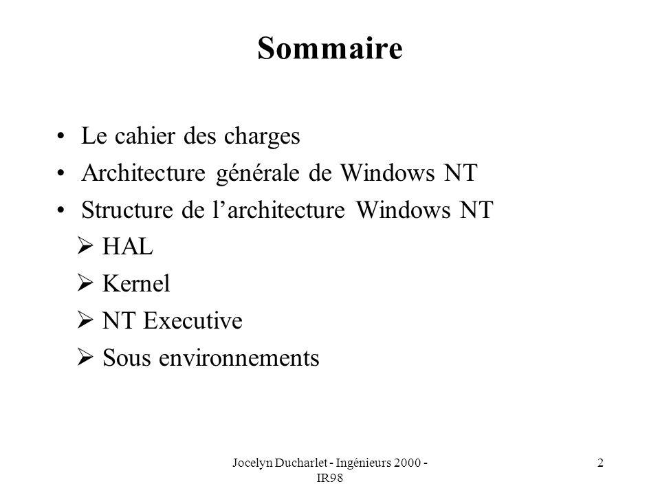 Jocelyn Ducharlet - Ingénieurs 2000 - IR98 2 Sommaire Le cahier des charges Architecture générale de Windows NT Structure de larchitecture Windows NT HAL Kernel NT Executive Sous environnements
