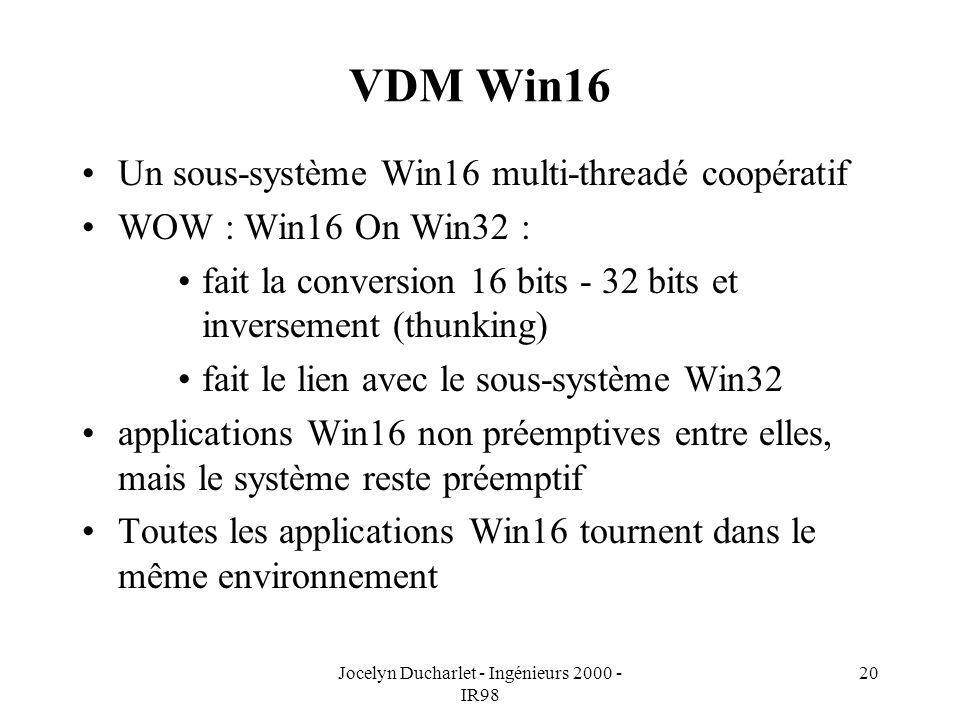 Jocelyn Ducharlet - Ingénieurs 2000 - IR98 20 VDM Win16 Un sous-système Win16 multi-threadé coopératif WOW : Win16 On Win32 : fait la conversion 16 bits - 32 bits et inversement (thunking) fait le lien avec le sous-système Win32 applications Win16 non préemptives entre elles, mais le système reste préemptif Toutes les applications Win16 tournent dans le même environnement
