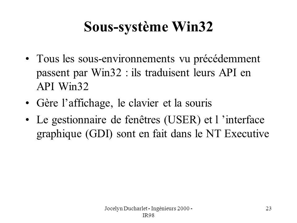Jocelyn Ducharlet - Ingénieurs 2000 - IR98 23 Sous-système Win32 Tous les sous-environnements vu précédemment passent par Win32 : ils traduisent leurs API en API Win32 Gère laffichage, le clavier et la souris Le gestionnaire de fenêtres (USER) et l interface graphique (GDI) sont en fait dans le NT Executive
