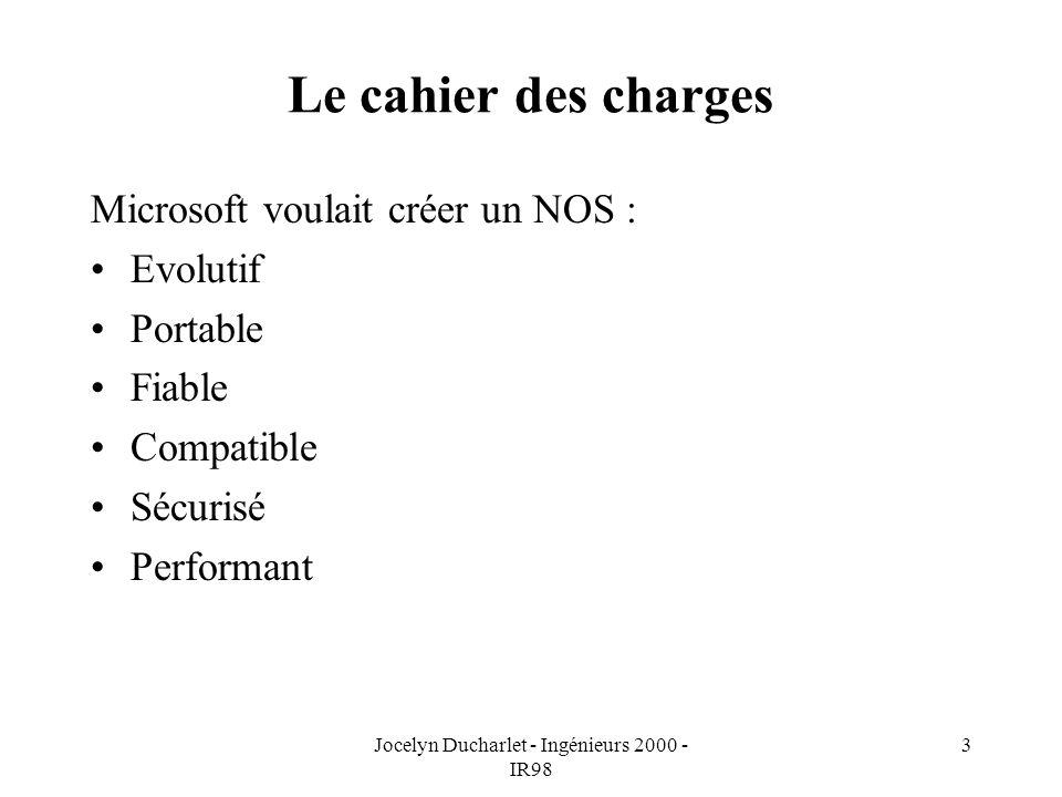 Jocelyn Ducharlet - Ingénieurs 2000 - IR98 3 Le cahier des charges Microsoft voulait créer un NOS : Evolutif Portable Fiable Compatible Sécurisé Performant
