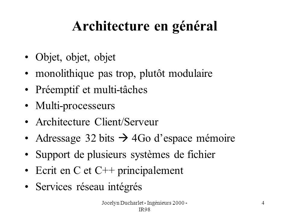 Jocelyn Ducharlet - Ingénieurs 2000 - IR98 4 Architecture en général Objet, objet, objet monolithique pas trop, plutôt modulaire Préemptif et multi-tâches Multi-processeurs Architecture Client/Serveur Adressage 32 bits 4Go despace mémoire Support de plusieurs systèmes de fichier Ecrit en C et C++ principalement Services réseau intégrés