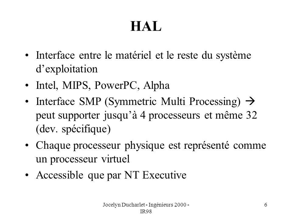 Jocelyn Ducharlet - Ingénieurs 2000 - IR98 6 HAL Interface entre le matériel et le reste du système dexploitation Intel, MIPS, PowerPC, Alpha Interface SMP (Symmetric Multi Processing) peut supporter jusquà 4 processeurs et même 32 (dev.