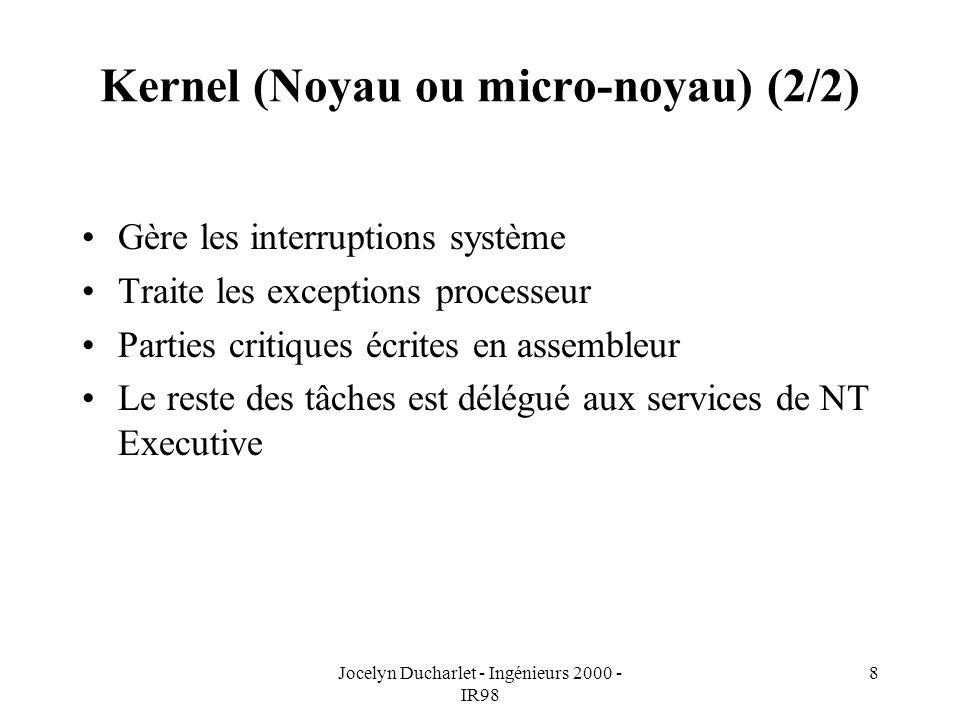 Jocelyn Ducharlet - Ingénieurs 2000 - IR98 8 Kernel (Noyau ou micro-noyau) (2/2) Gère les interruptions système Traite les exceptions processeur Parties critiques écrites en assembleur Le reste des tâches est délégué aux services de NT Executive