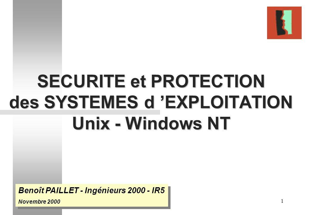 1 SECURITE et PROTECTION des SYSTEMES d EXPLOITATION Unix - Windows NT Benoît PAILLET - Ingénieurs 2000 - IR5 Novembre 2000 Benoît PAILLET - Ingénieur
