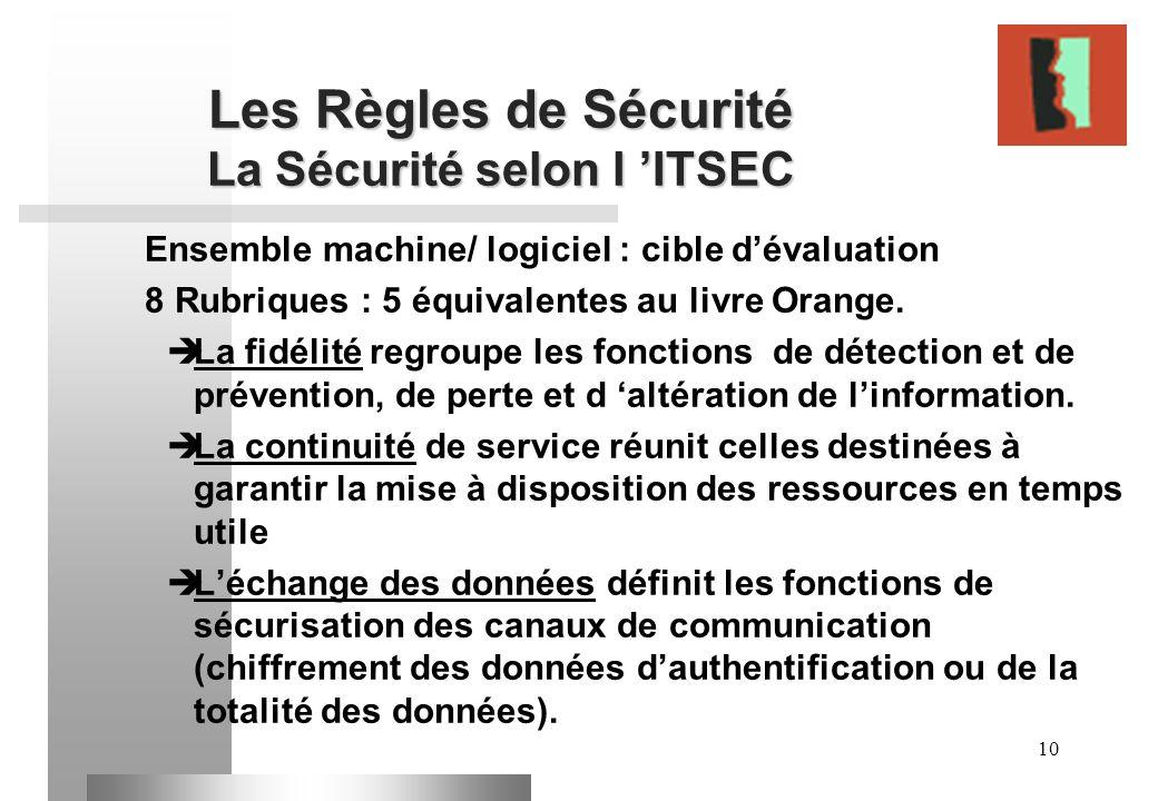 10 Les Règles de Sécurité La Sécurité selon l ITSEC Ensemble machine/ logiciel : cible dévaluation 8 Rubriques : 5 équivalentes au livre Orange. La fi