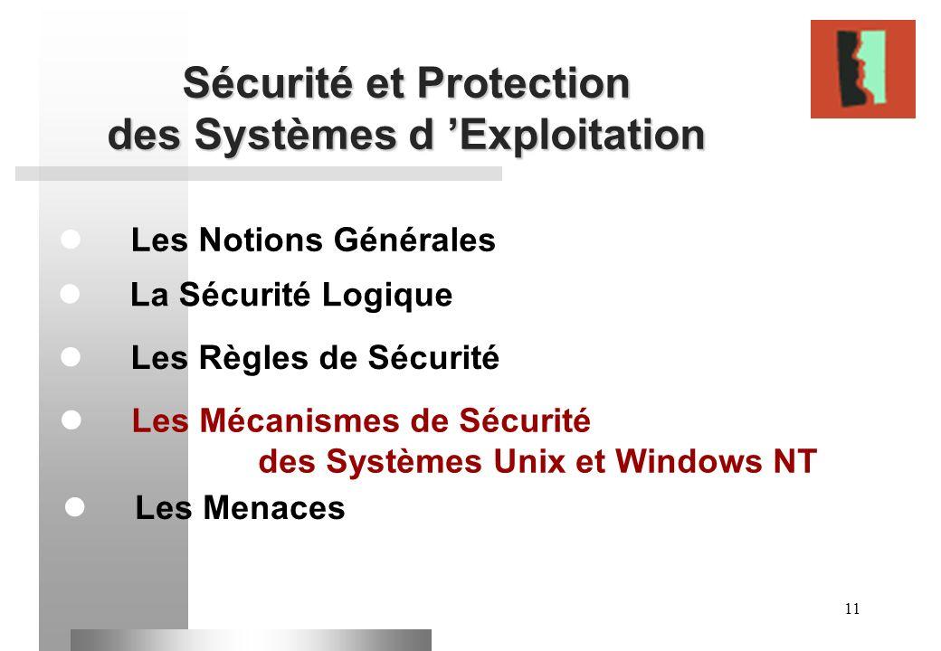 11 Sécurité et Protection des Systèmes d Exploitation Les Notions Générales Les Règles de Sécurité La Sécurité Logique Les Mécanismes de Sécurité des