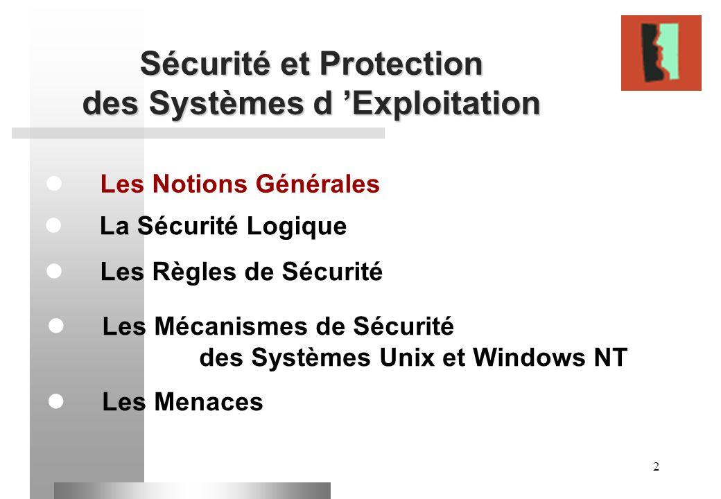 2 Sécurité et Protection des Systèmes d Exploitation Les Notions Générales Les Règles de Sécurité La Sécurité Logique Les Mécanismes de Sécurité des S