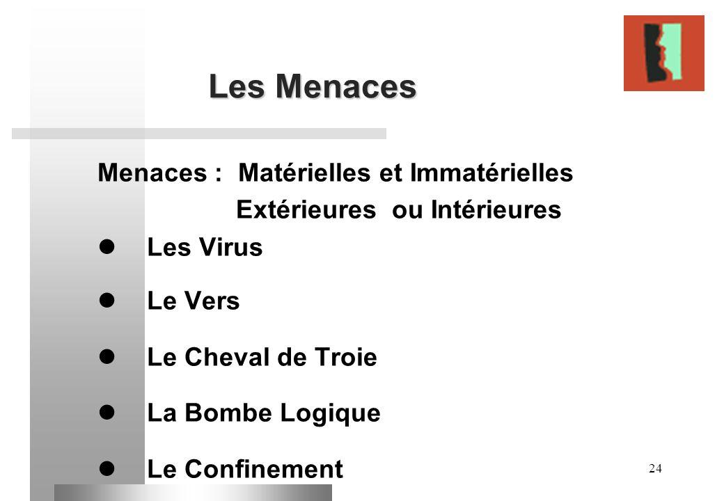 24 Les Menaces Menaces : Matérielles et Immatérielles Extérieures ou Intérieures Les Virus Le Vers Le Cheval de Troie La Bombe Logique Le Confinement