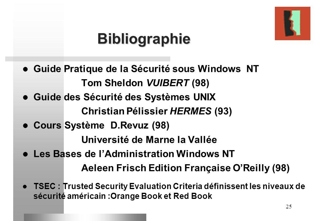 25 Bibliographie Guide Pratique de la Sécurité sous Windows NT Tom Sheldon VUIBERT (98) Guide des Sécurité des Systèmes UNIX Christian Pélissier HERME
