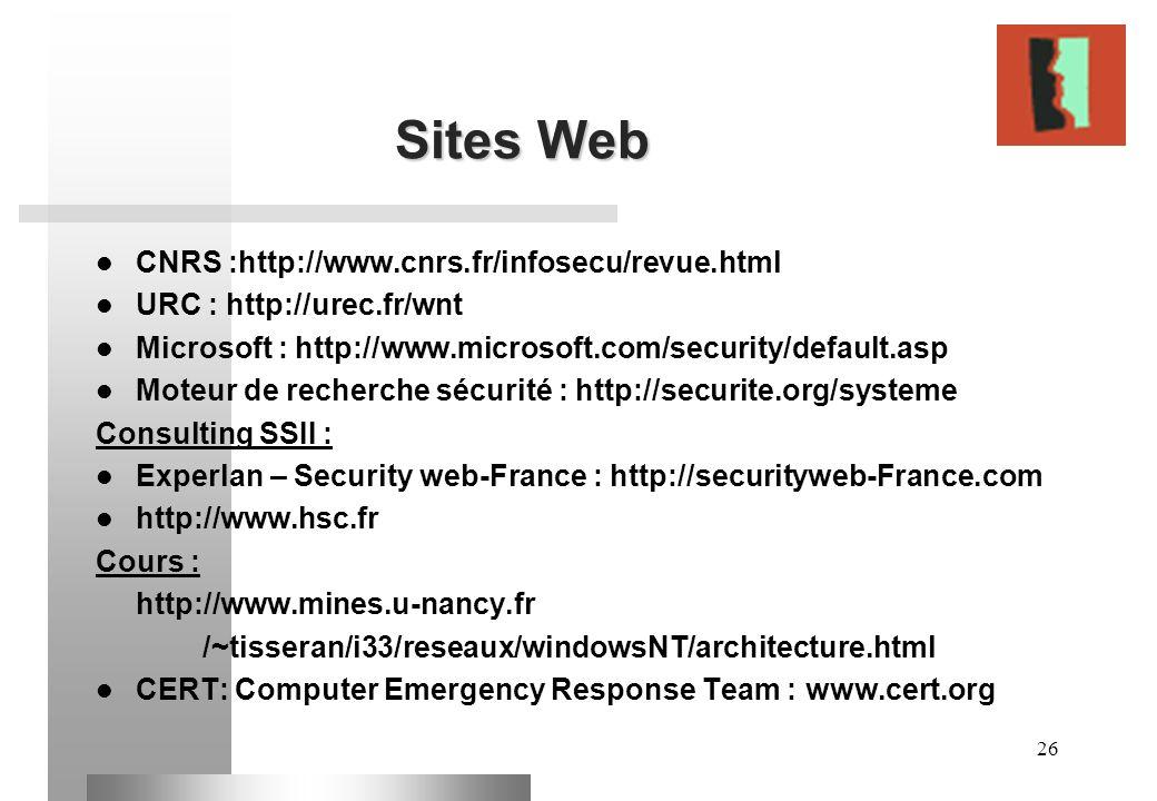 26 Sites Web CNRS :http://www.cnrs.fr/infosecu/revue.html URC : http://urec.fr/wnt Microsoft : http://www.microsoft.com/security/default.asp Moteur de