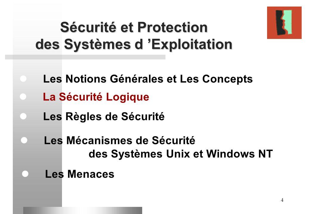 4 Sécurité et Protection des Systèmes d Exploitation Les Notions Générales et Les Concepts Les Règles de Sécurité La Sécurité Logique Les Mécanismes d