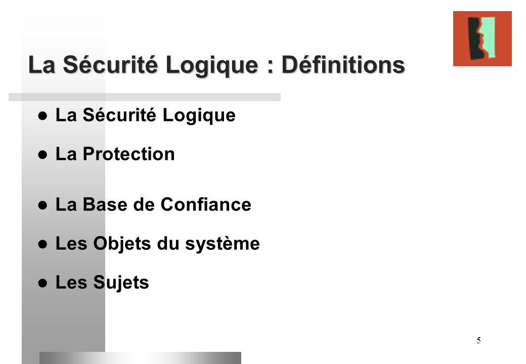 5 La Sécurité Logique : Définitions La Sécurité Logique La Protection La Base de Confiance Les Objets du système Les Sujets