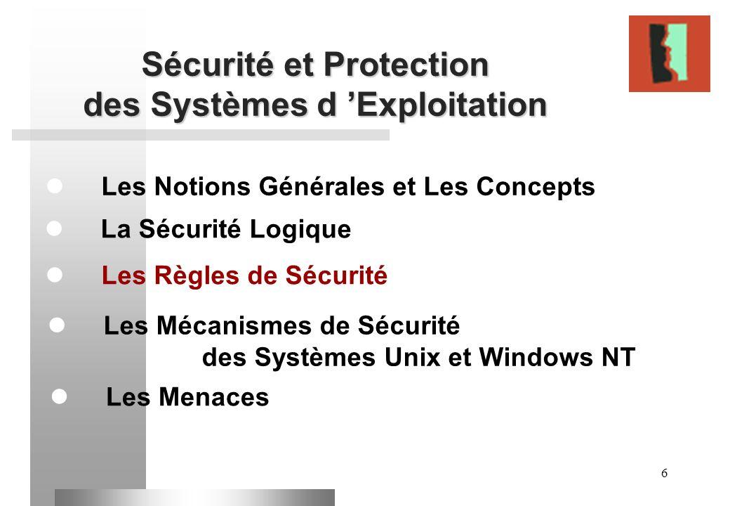 6 Sécurité et Protection des Systèmes d Exploitation Les Notions Générales et Les Concepts Les Règles de Sécurité La Sécurité Logique Les Mécanismes d