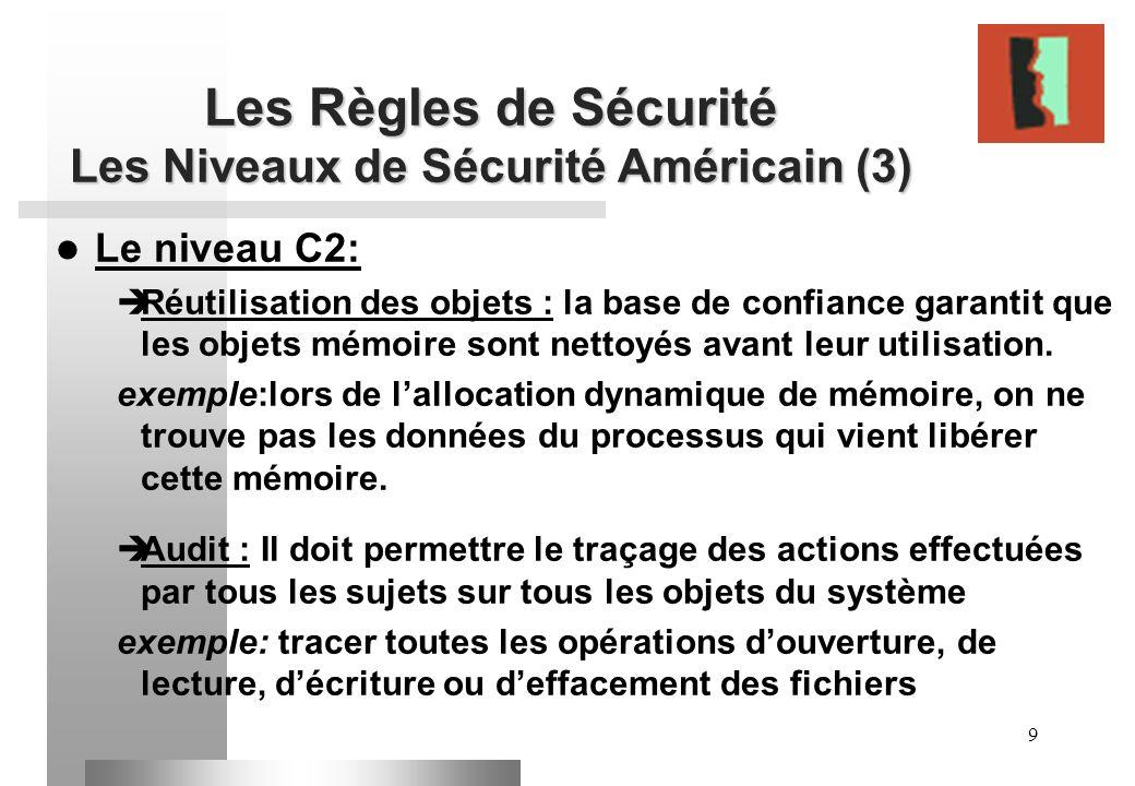 9 Les Règles de Sécurité Les Niveaux de Sécurité Américain (3) Le niveau C2: Réutilisation des objets : la base de confiance garantit que les objets m