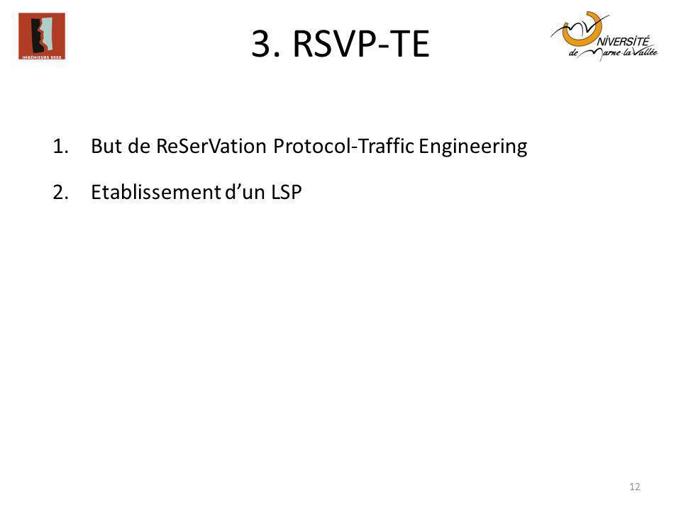 3. RSVP-TE 12 1.But de ReSerVation Protocol-Traffic Engineering 2.Etablissement dun LSP
