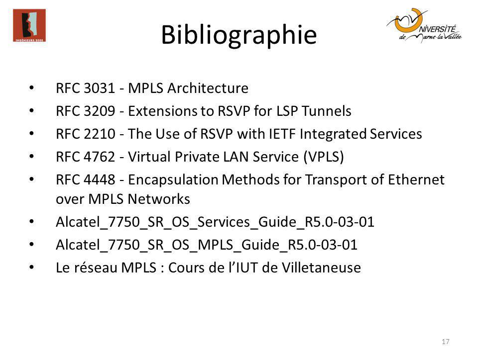 Bibliographie 17 RFC 3031 - MPLS Architecture RFC 3209 - Extensions to RSVP for LSP Tunnels RFC 2210 - The Use of RSVP with IETF Integrated Services R