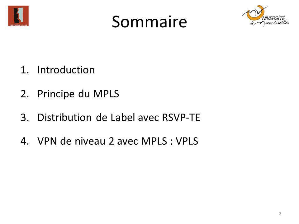 Sommaire 1.Introduction 2.Principe du MPLS 3.Distribution de Label avec RSVP-TE 4.VPN de niveau 2 avec MPLS : VPLS 2