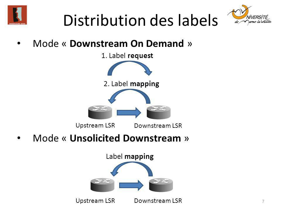Distribution des labels 7 Mode « Downstream On Demand » Mode « Unsolicited Downstream » Upstream LSR Downstream LSR 1. Label request 2. Label mapping