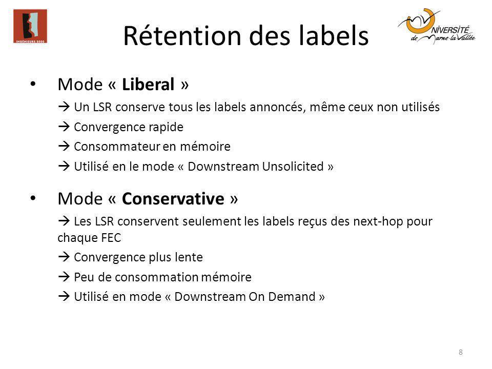 Rétention des labels 8 Mode « Liberal » Un LSR conserve tous les labels annoncés, même ceux non utilisés Convergence rapide Consommateur en mémoire Ut
