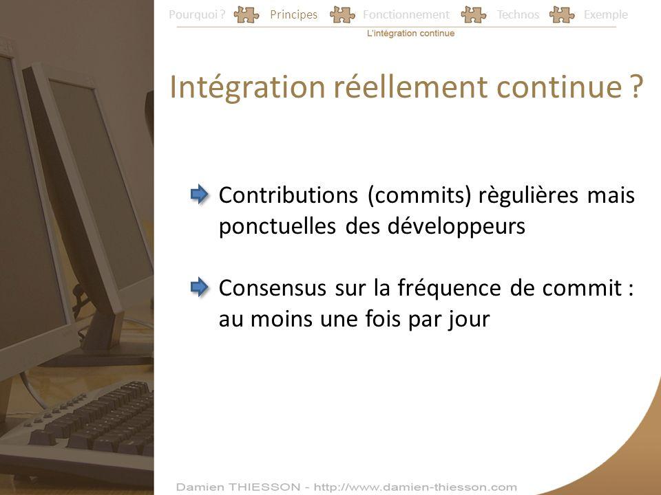 Pourquoi ?PrincipesFonctionnementTechnosExemple Intégration réellement continue ? Contributions (commits) règulières mais ponctuelles des développeurs