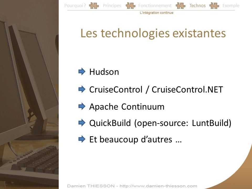 Pourquoi ?PrincipesFonctionnementTechnosExemple Les technologies existantes Hudson CruiseControl / CruiseControl.NET Apache Continuum QuickBuild (open