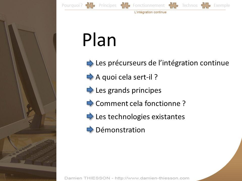 Pourquoi ?PrincipesFonctionnementTechnosExemple Plan Les précurseurs de lintégration continue A quoi cela sert-il ? Les grands principes Comment cela