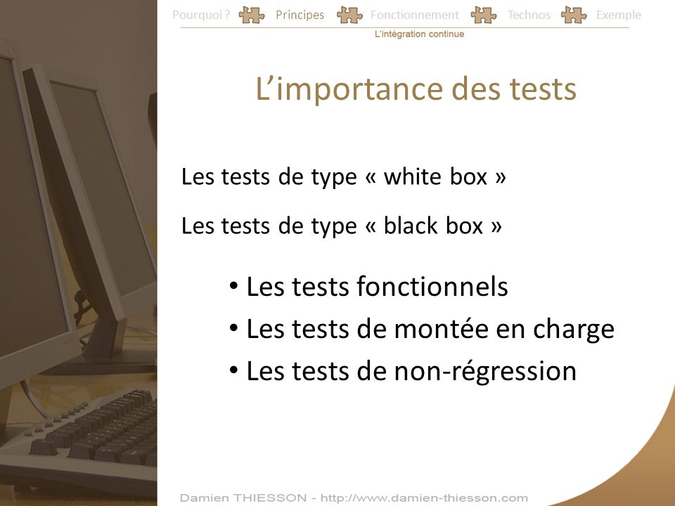 Pourquoi ?PrincipesFonctionnementTechnosExemple Limportance des tests Les tests de type « black box » Les tests fonctionnels Les tests de montée en charge Les tests de non-régression Les tests de type « white box »